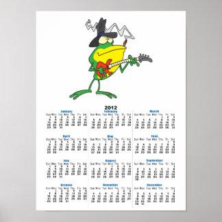 funny frog playing bass guitar froggy cartoon print