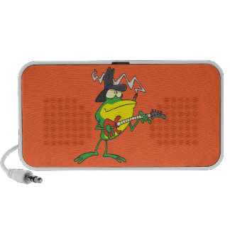 funny frog playing bass guitar froggy cartoon mp3 speakers