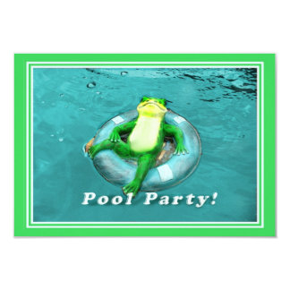 Funny Frog Pool Party Card