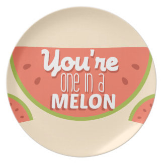 Funny fruit pun you're one in a million (melon) party plate