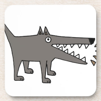 Funny Funky Barking Gray Watchdog Beverage Coasters