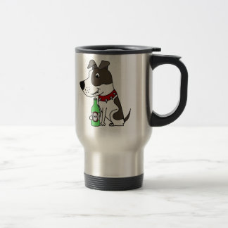 Funny Funky Pit bull Drinking Beer Cartoon Travel Mug