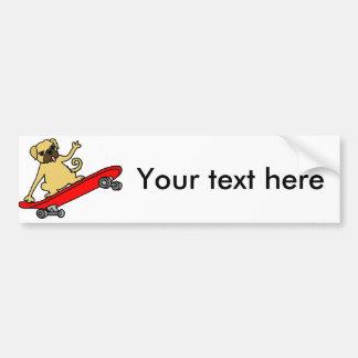 Funny Funky Pug Skateboarding Bumper Sticker