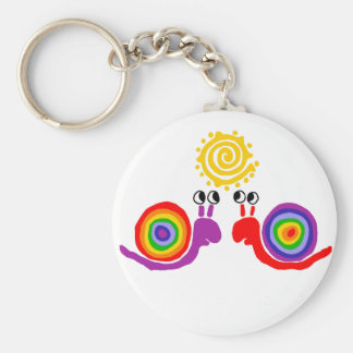 Funny Funky Rainbow Snail Love Abstract Art Key Ring