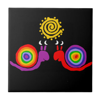 Funny Funky Rainbow Snail Love Abstract Art Small Square Tile