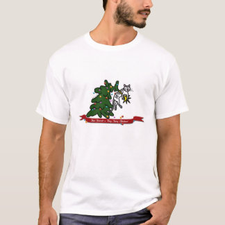 Funny Furry Christmas Tree Catastrophe Cat Cartoon T-Shirt