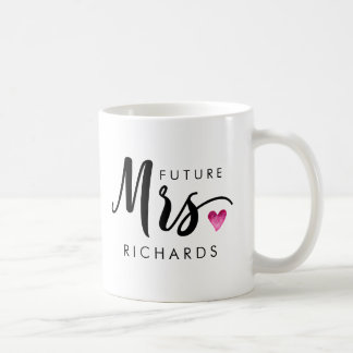 Funny Future MRS. Typography pink watercolor heart Coffee Mug