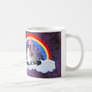 Funny Galaxy Rainbow Princess Skateboard Cat Mug