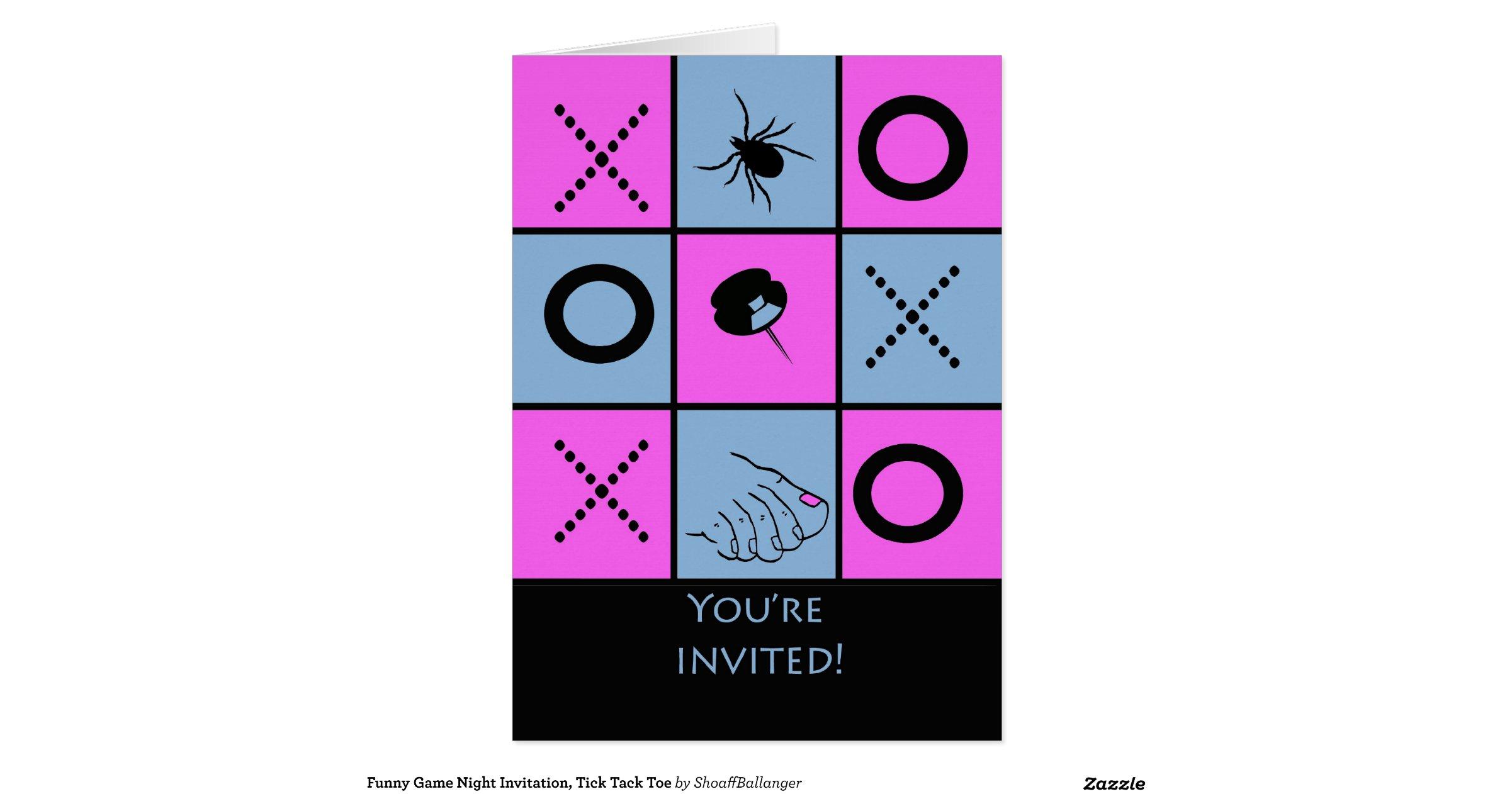 Funny Game Night Invitation, Tick Tack Toe Greeting Card ...