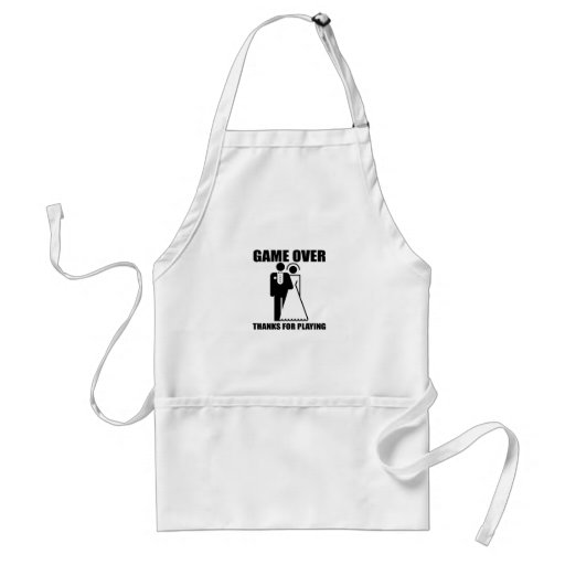 """Funny, """"Game Over"""" Wedding design Aprons"""