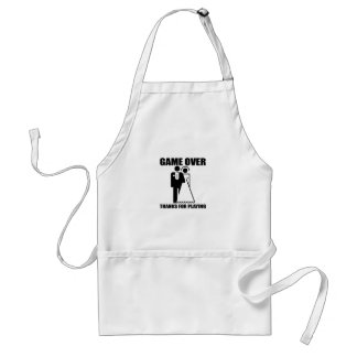 Funny Game Over Wedding design Aprons