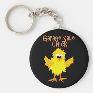 Funny Garage Sale Chick Cartoon Basic Round Button Key Ring