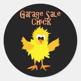 Funny Garage Sale Chick Cartoon Round Sticker