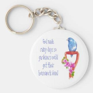 Funny Gardening Quote, Bluebird Basic Round Button Key Ring