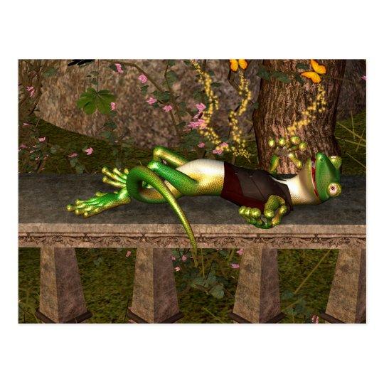 Funny gecko postcard