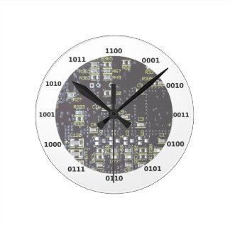 Funny Geek Binary Clock With Circuit Board Effect
