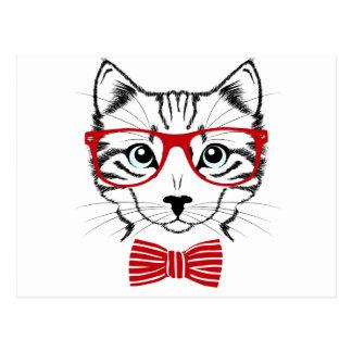 Funny Geek Bowtie Cat Pet Postcard
