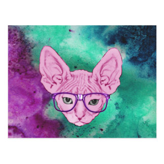 Funny Geeky Cat on Watercolor Backgroun Postcard