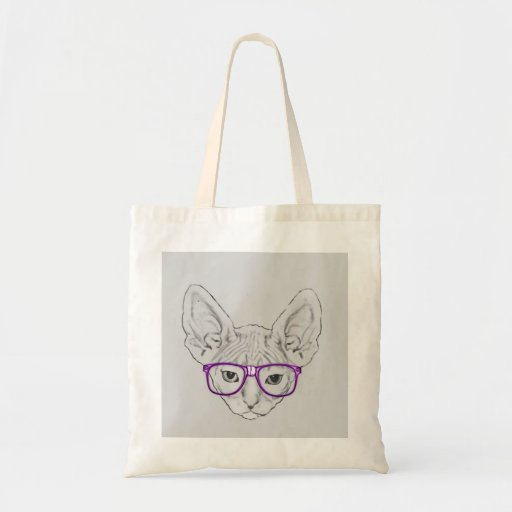 Funny Geeky Nerdy Sphynx with Taped Glasses Bag