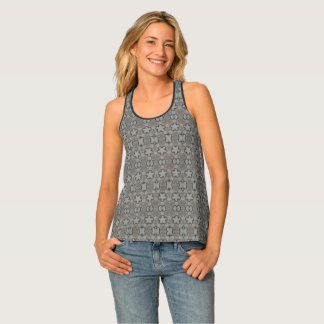 Funny Geometric Pattern with Stars Silver Gray Singlet