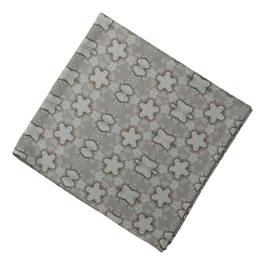 Funny Geometric Pattern with Stars Silver Grey Bandana