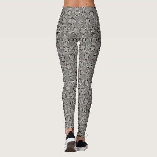 Funny Geometric Pattern with Stars Silver Grey Leggings