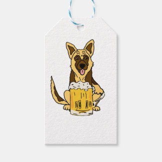 Funny German Shepherd Dog Drinking Beer Art Gift Tags