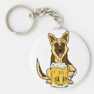 Funny German Shepherd Dog Drinking Beer Art Key Ring