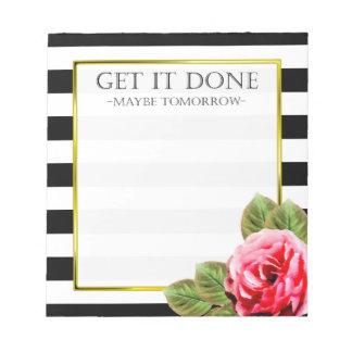 Funny Get It Done Procrastination Notepad