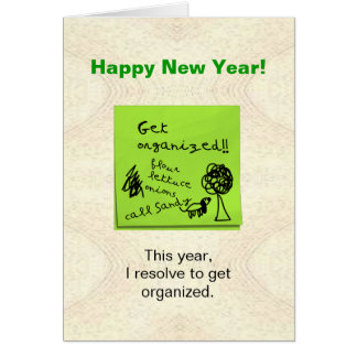 Funny Get Organized Resolution New Years Card