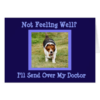 """Funny """"Get Well"""" Card w/Cute Basset Hound Doctor"""