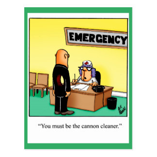 """Funny Get Well Postcard """"Cannon Cleaner"""""""