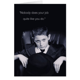 Funny Get Well Soon For Coworker Boy In Suit Greeting Card