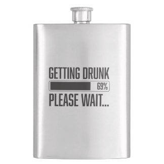 Funny Getting Drunk Please Wait Saying Hip Flask