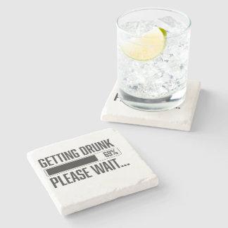 Funny Getting Drunk Please Wait Saying Stone Beverage Coaster