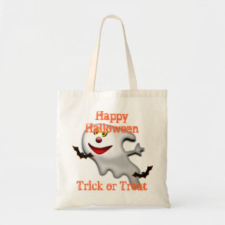 funny ghost cartoon  trick or  treat budget tote bag