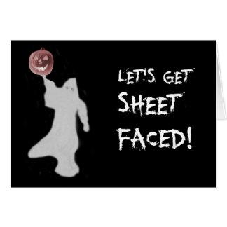 Funny Ghost Jack O Lantern Halloween Greeting Card