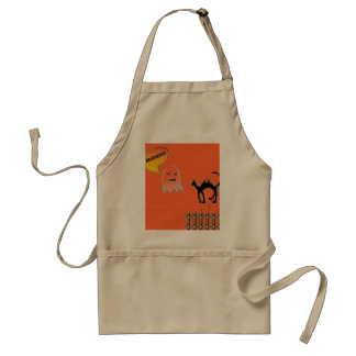 Funny Ghost Scaring Black Cat Aprons