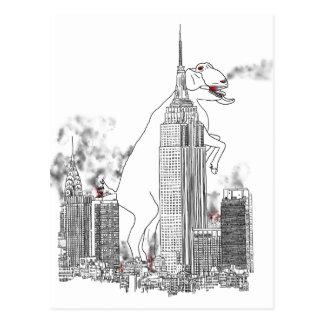 Funny giant goat attack New York novelty postcard
