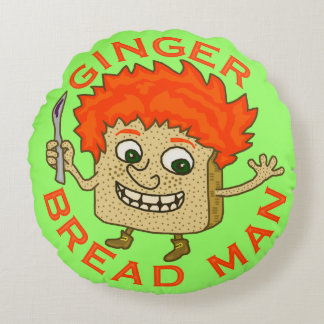 Funny Ginger Bread Man Christmas Pun Round Cushion