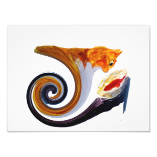 Funny Ginger Cat Goldfish Abstract Musical Art Photo Print