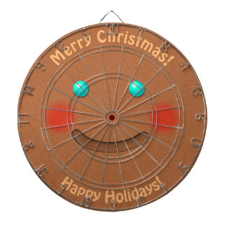 Funny Gingerbread Man With Rosy Cheeks Dartboard