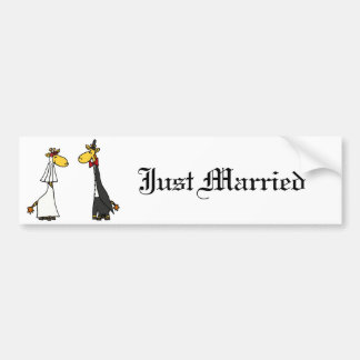 Funny Giraffe Bride and Groom Wedding Cartoon Bumper Stickers