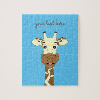 Funny giraffe cartoon blue custom kids puzzle