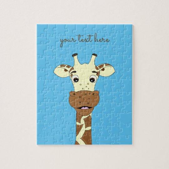 Funny giraffe cartoon blue custom kids puzzle