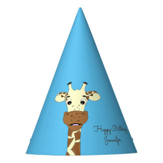 Funny giraffe cartoon blue kids name birthday party hat