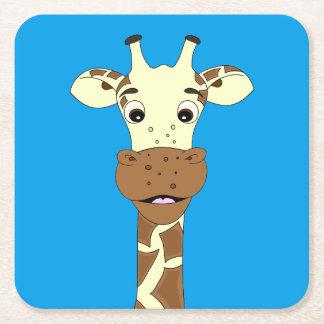 Funny giraffe cartoon blue kids square paper coaster