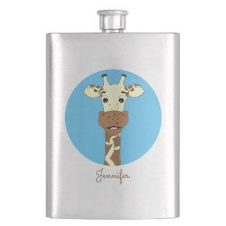Funny giraffe cartoon blue name kids classic flask