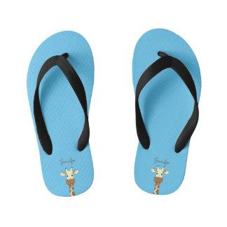 Funny giraffe cartoon blue name kids slippers thongs