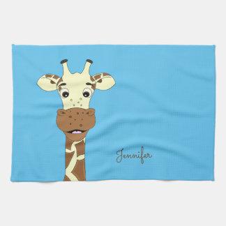 Funny giraffe cartoon blue name kitchen towel